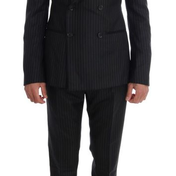 Black Striped Double Breasted 3 Piece Suit