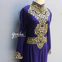 Purple Caftan Gold Embroidery Maxi Dress, Great for Wedding Bridesmaid Party Summer Kaftan Dress - available in many colors