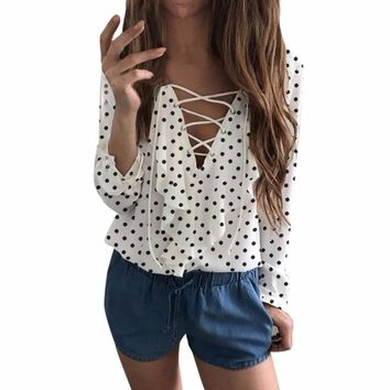2017 Spring Autumn Polka Dot V Neck Lace up Shirt Women Ladies Ruffles Long Sleeve Loose Tops Blusas Mujer De Moda ygb2
