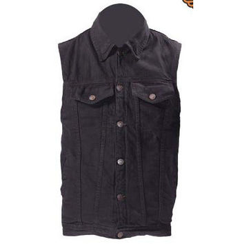 Mens Motorcycle Biker Vest Black Cotton Denim Button up 6 Pockets Gun pocket