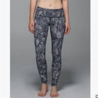 """Lululemon"" Printing yoga yoga pants Black grey leaf"