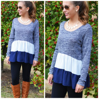J'adore Paris Navy Tiered Ruffle Top