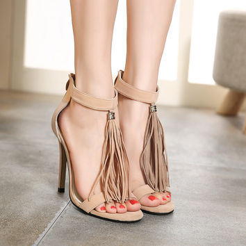 Stylish Design Tassels Star High Heel Sandals = 4814721860