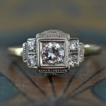Art Deco Engagement Ring - 1920s Diamond Engagement Ring - Vintage Wedding Ring - Unique Engagement Ring - Deco Diamond Ring-Right Hand Ring