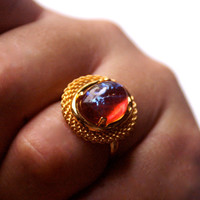Vintage Glass Adjustable Ring with Mexican Fire Opal Cabochon Dragon's Breath Czech Glass