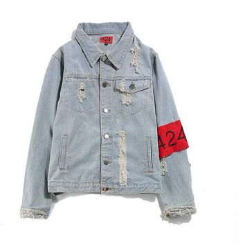 Fear of God Hip Hop Men's Clothes 424 Spring Summer Broken Hole Jeans Designer Ripped Denim Oversized Jacket M-XXL