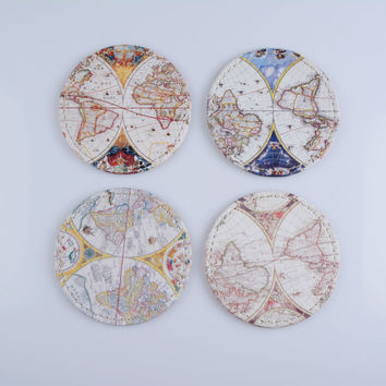 LINKWELL Set of 4 10x10cm Antique Accent Vintage Old World Map Round Bar Coaster Table Cup Holder Drink Placemat Mat Tabletop