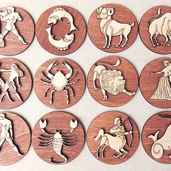 Zodiac Sign Magnets - Wood Magnets - Rustic Wood - Woodland - Rustic Wedding Signs - Zodiac Constellation Magnets - Personalized Magnets