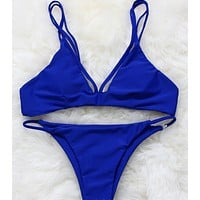 FASHION PURE COLOR BLUE GREY TREE TWO STRAPS SHOW BODY SEXY TWO PIECE BIKINIS SWIMWEAR BATHSUIT