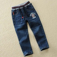 Autumn Spring New Jeans Boy Elastic Jeans For Kids Denim Pants For Boys Trousers 4 5 6 8 10 12 14