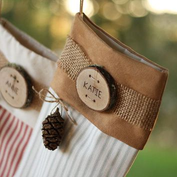 Personalized Christmas Stocking Personalized Wood Slice Name Tag Cone Rustic Woodland Christmas Plaid Flannel Christmas Stocking Burlap