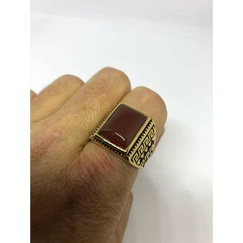 Vintage 1980's Gothic Gold Finished Genuine Red Carnelian Men's Ring