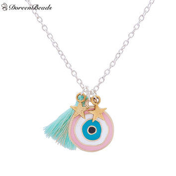 DoreenBeads Handmade Bohemia Turkey Evil Eye Pendants Necklace Mint Green Tassel Gold Star Fashion Jewelry 44.5cm 1 Piece