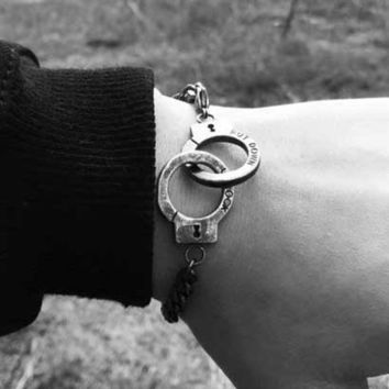 LMFON Fashion Retro Engraved Letter Chain Bracelet Couple Handcuffs Chain Bracelet