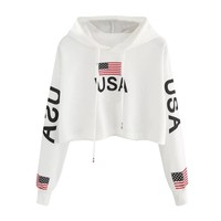 ISHOWTIENDA Hoodies Women 2018 Flag USA Letter Sweartshirts Autumn Crop Top Pullover Casual Sweat Femme Sudadera Mujer