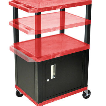 H. WILSON Rolling Movable Multi purpose Storage Utility Cart with Lockable Cabinet Red Black Legs
