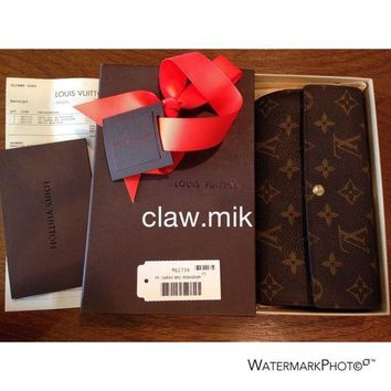 PEAPON AUTHENTIC Louis Vuitton Monogram Sarah Wallet - Dust Bag - Box - Receipt - EUC