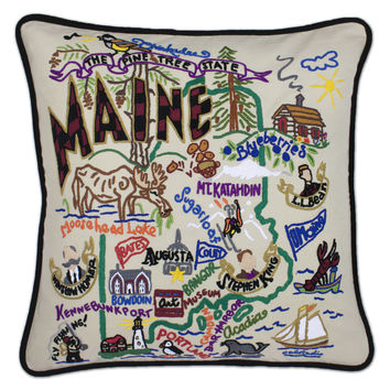 Maine Hand Embroidered Pillow