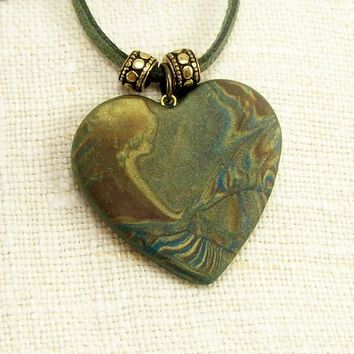 Heart Pendant Necklace, Artisan Made Polymer Clay Jewelry, Abstract Pendant