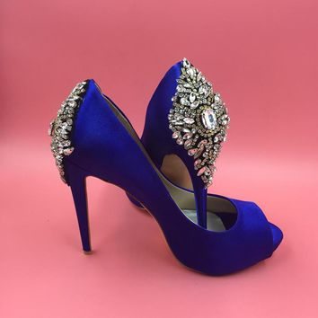 Royal Blue Satin Open Toe Rhinestone Back Wedding Shoes Pumps Stilettos sapato para no