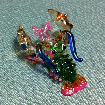 Hand Blown Glass Miniature Lobster Prawn Sea Animal Cute Green Pink Figurine Statue Decoration Collectible Small Craft Hand Painted Figure