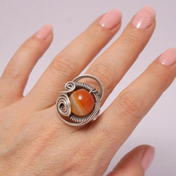 handmade agate ring-energy-reiki- wire wrapped jewelry handmade-adjustable ring-silver ring