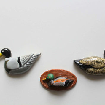 Vintage Set of 3 Duck Fridge Magnets 1980s