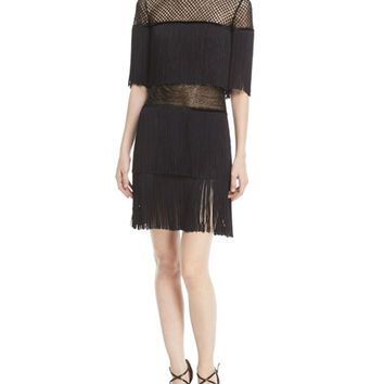 Naeem Khan Fringed Mesh Cocktail Dress