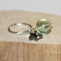 Belly Button Ring, Fluorite Belly Button Ring, Belly Button Jewelry, Sterling Silver or 14k Gold Filled, Body Jewelry, Green Stone Ring