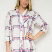 Sunshine Plaid Outing Top