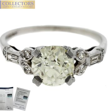 Ladies Vintage Estate Platinum 1.69ctw Old European Diamond Engagement Ring EGL