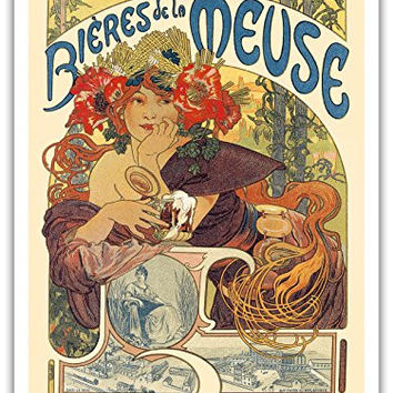 "Bieres de La Meuse (Beer Avertising)- Art Nouveau - La Belle Époque- ""Les Maitres de l'Affiche""- Art Deco- Vintage French Advertising Poster by Alphonse Mucha c.1897 - Master Art Print - 9in x 12in"