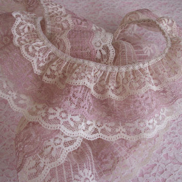 Gathered Triple Ruffled Lace, Natural and Dusty Rose Lace, Apparel, Doll Clothes, Decorative Lace Trim, Lace for Journals, Crafting Lace