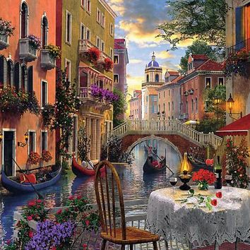 Needlework,Venice Romantic Dinner 14CT Counted Embroidery,High Quality DIY DMC Cross stitch kits,Art Cross-Stitching Home Decor