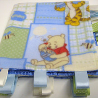 Tag Baby Blanket Bib and Card Combo Pooh and by PaperPlusStitch