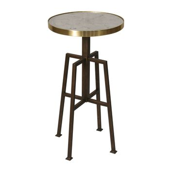 Gisele Petite Round Accent Table with Distressed Mirrored Top by Uttermost