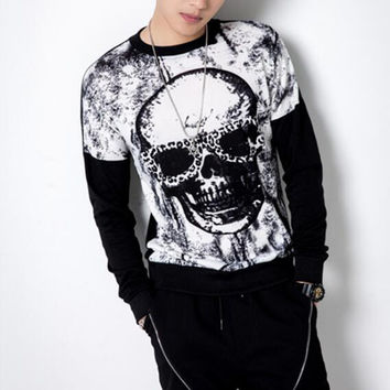 Quality Men's Skull Tie-dyed Brand Long Sleeve T-shirt Spring Summer Fashion Knitting Cotton Top Tees