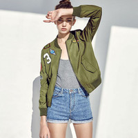 Army Green Patch Bomber Jacket