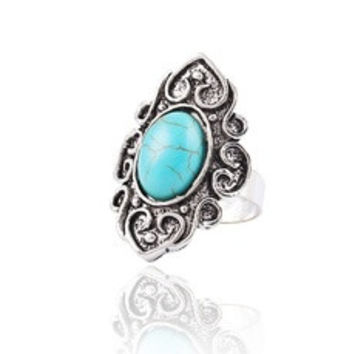 Fashion Wedding Retro Flower Nation Bohemian style Turquoise Resizable Ring jewelry for women [8383596807]