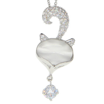 Dear Deer White Gold Plated Cute Moonstone Cubic Zirconia Fox Pendant Necklace