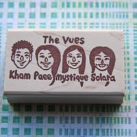 Hand Carved Mounted Custom Family Portrait & Names Stamp -Return Address, Stationery, Invitations, Thank You Cards, Christmas Cards
