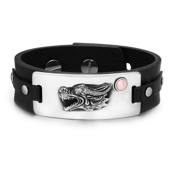 Courage Dragon Magic Protection Powers Amulet Pink Simulated Cats Eye Adjustable Leather Bracelet