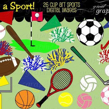 Sports clip art sports digital clip art football by GreatGraphics