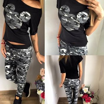 2018 Summer Tracksuit For Women 2 Piece Cartoon Minnie Mouse leisure camouflage Leggings+T-shirts Sporting suit