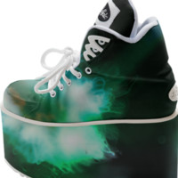 Green Alien Jellyfish from Outer Space Buffalo Platform Shoes created by stine1 | Print All Over Me