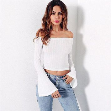 ONETOW woman blouses women clothing elegant white off the shoulder long flare sleeve top