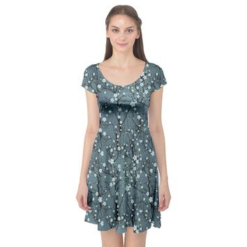 Blue Water with Pattern Tree Japanese Cherry Blossom Cap Sleeve Dress