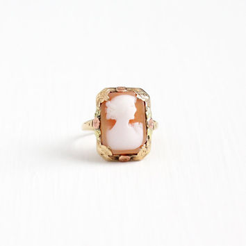 Vintage 10k Rose, Yellow, & Green Gold Cameo Ring - Size 5 1/4 Vintage 1930s Art Deco Carved Shell Fine Woman Silhouette Flower Jewelry