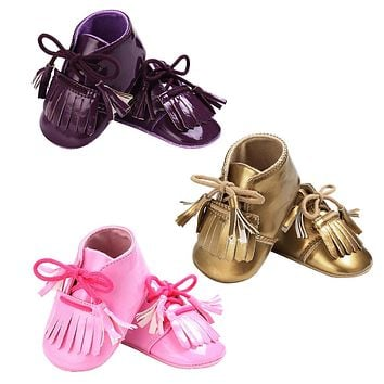Baby Boy Girl Moccasins Shoes Newborn PU First Walker Infant Soft Sole Tassel
