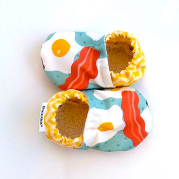 bacon baby shoes bacon and eggs baby booties bacon booties for baby shoes with bacon yellow and orange soft sole shoes baby girl baby boy